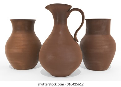 Clay dishes set on white background.3d render