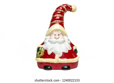 Clay Doll Santa Claus with bell on white background. merry christmas. Front