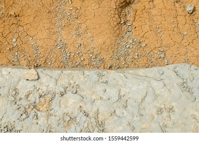 Clay earth and soil covered with dried silt