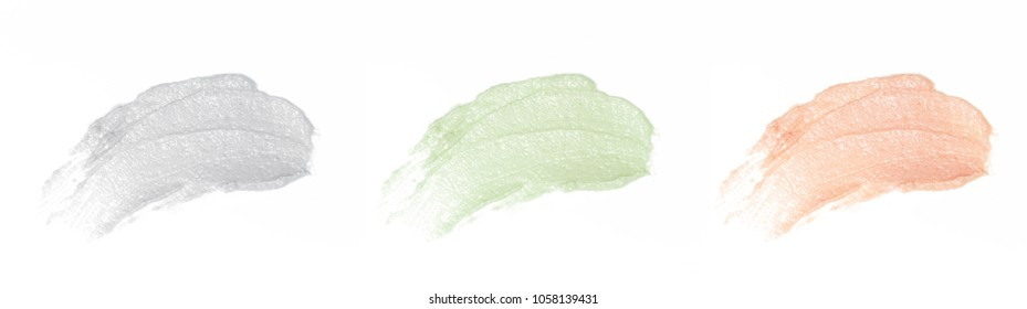 Clay facial mask samples on white background