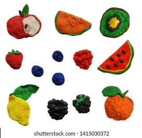 Clay fruits in isolated background. Set of plasticine fruits icon.