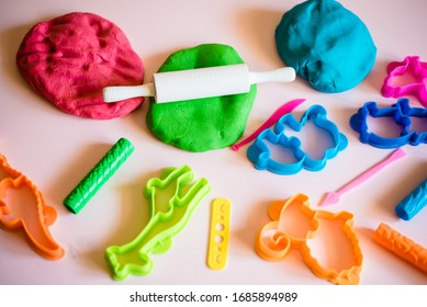 Сolorful clay. Homemade plastiline. Plasticine. play dough. Girl molding modeling clay. Homemade clay.