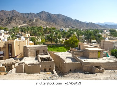 The clay house in the oasis of Wadi Tiwi. A small village in Oman.