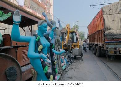 Clay idol of Goddess Kali at Kumartuli, Kolkata , India. Idols are being prepared to be worshipped during Kali Puja, Hindu festival of Deepavali or Diwali.