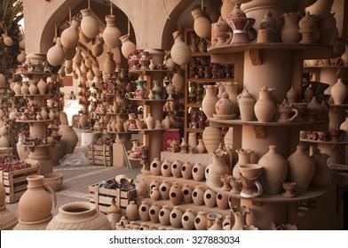 Clay jars at the rural arabic market