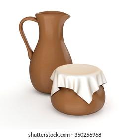 Clay jug and pot