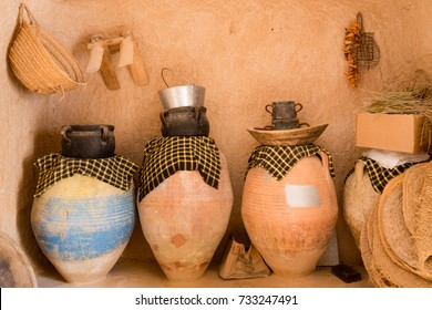 Clay jugs in a berber cave house