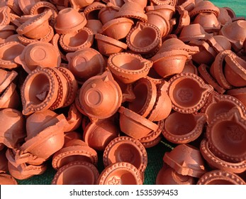 Clay lamp stall for festival celebration