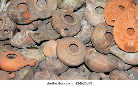 Clay lamps. Arab market in the Old City. Jerusalem. Israel.