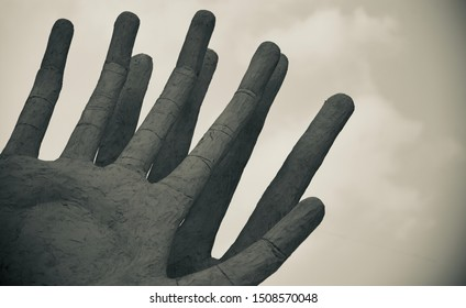 Clay made artificial human fingers of hands unique photo