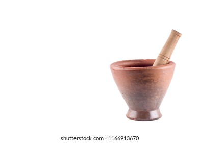 clay mortar and wood pestle on white background  cooking kitchenware object isolated