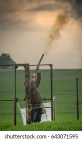 Clay pigeon competition shooting at six mile bottom in Suffolk UK