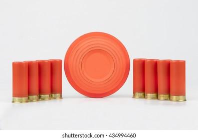 Clay pigeons and shotgun shells