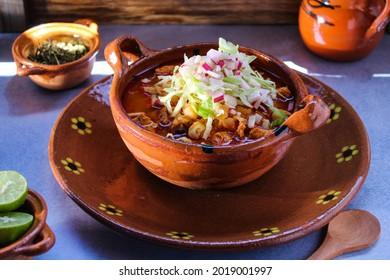 clay plate with pozole, traditional Mexican food