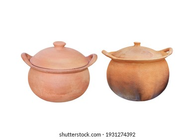 Clay pot with cover two style isolated on white background, clipping path included.