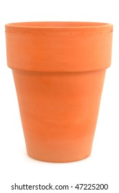 Clay pot in front of a white background