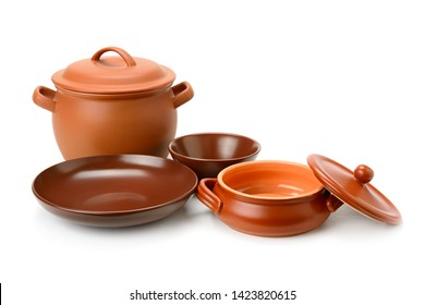 Clay pots, cup, bowls isolated on white background. Ceramic tableware.