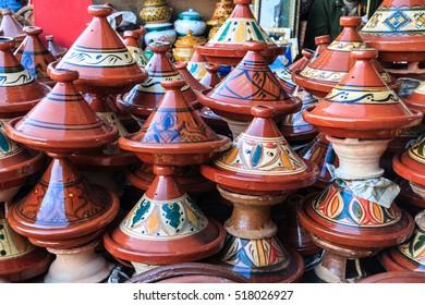 Clay pots in a market. Meknes, Morocco