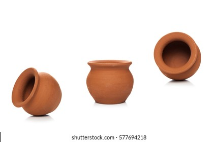 Clay pots used since ancient times on white background.soft clay pot isolated.