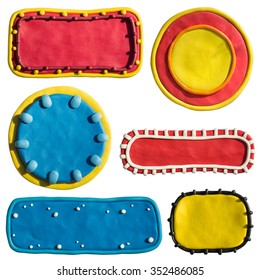Clay putty, plasticine handmade three dimensional decorated shapes and badges template. Backgrounds, geometry objects for text or any design. Putty design templates.
