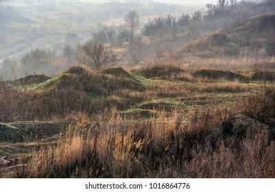 clay quarry in the Taurian steppe. Zaporozhye region, Ukraine. December 2010