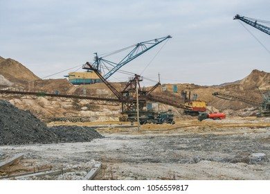 clay quarry in the Taurian steppe. Zaporozhye region, Ukraine. December 2010