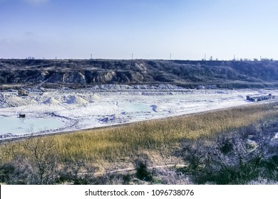 Clay quarry is warm in winter. Zaporozhye region, Ukraine.