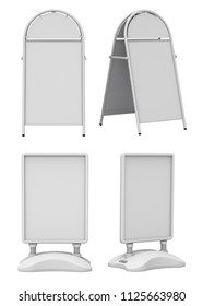 Clay render set of empty blank advertising street signs isolated on white background - 3D illustration