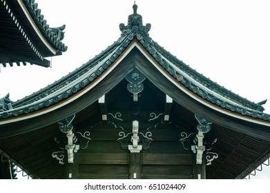 The clay roof of a Japanese temple