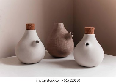 Clay sauce pot. Working process