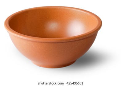 Clay saucer for products cut on the  white background