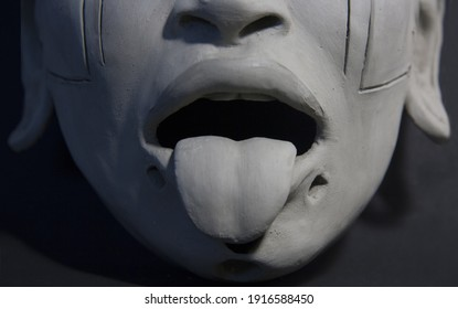 Clay Sculpture. Open mouth, female tongue and lips