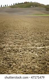 Clay soil field