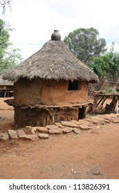 A clay and thatched roof hut is home to a Konso family of Ethiopia
