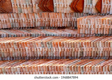Clay tile or earthenware roof to arrange pile ,ridge tiling material regular of Thai  style tiles for roof of temple and vintage building.