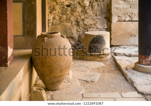 Clay vase in the ruins of the palace. Historic ruins in Knossos, Greece.