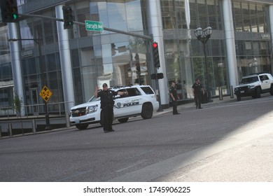 Clayton, Missouri, United States May/30/2020 Protest of George Floyd killing while being arrested