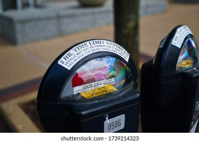 Clayton, Missouri / USA - May 23, 2020:  Image of an expired parking meter.