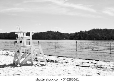 Claytor lake beach in Virginia with lifeguard chair