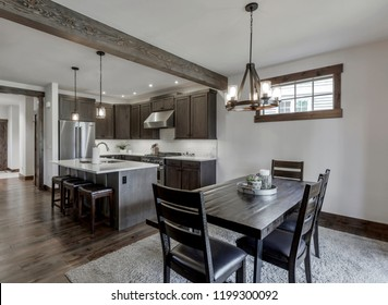 Cle Elum, WA / USA - Sept. 2, 2018: Modern dining room and kitchen interior