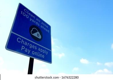 Clean Air Zone CAZ road sign in Birmingham, UK.