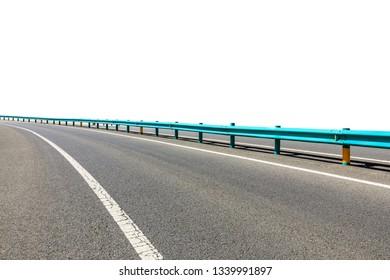 Clean asphalt highway on white background