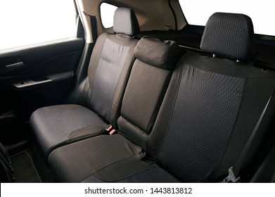 Clean back seats of SUV car isolated on white background