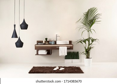 clean bathroom style and interior decorative design, wooden cabinets