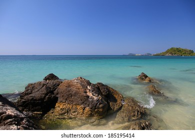 Clean beach with blue sky in summer time at Thailand