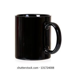 Clean black mug, isolated on white background