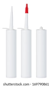 Clean blank sealant tube, open and closed, isolated on white