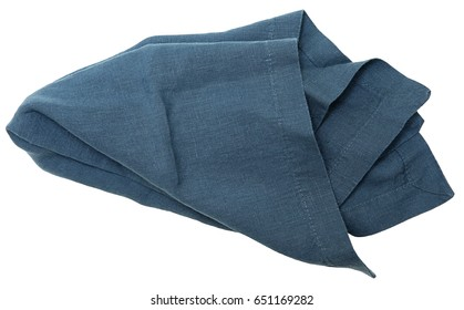 Clean Blue Table Napkin isolated over white.
