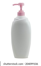 clean body lotion bottle isolated in white background with clipping path