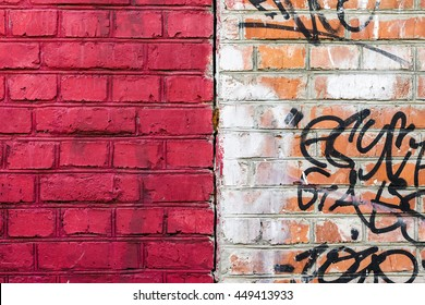 Clean brick wall and the wall with graffiti